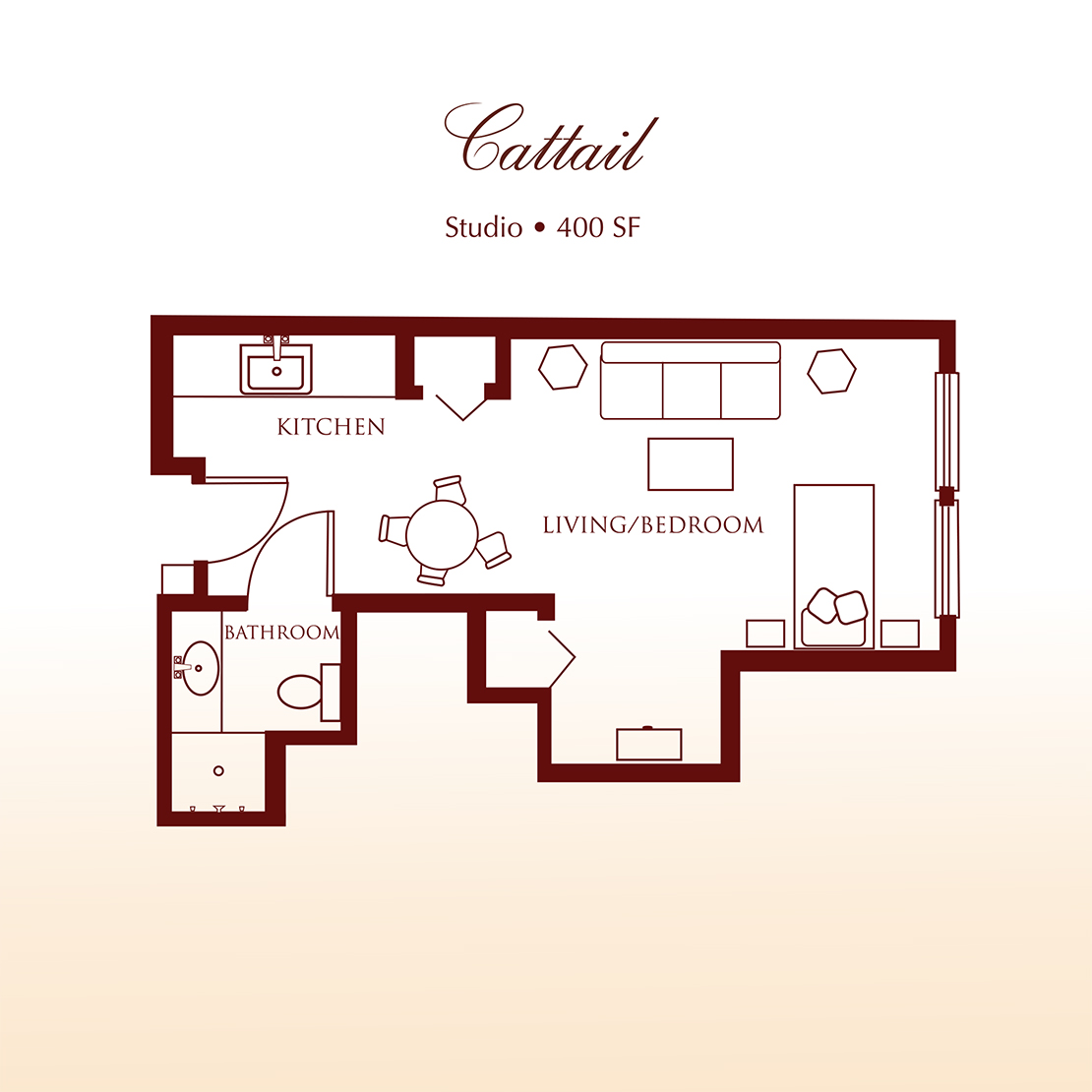 Floor plan - The Cattail Studio Apartment at Detray's Colonial Inn