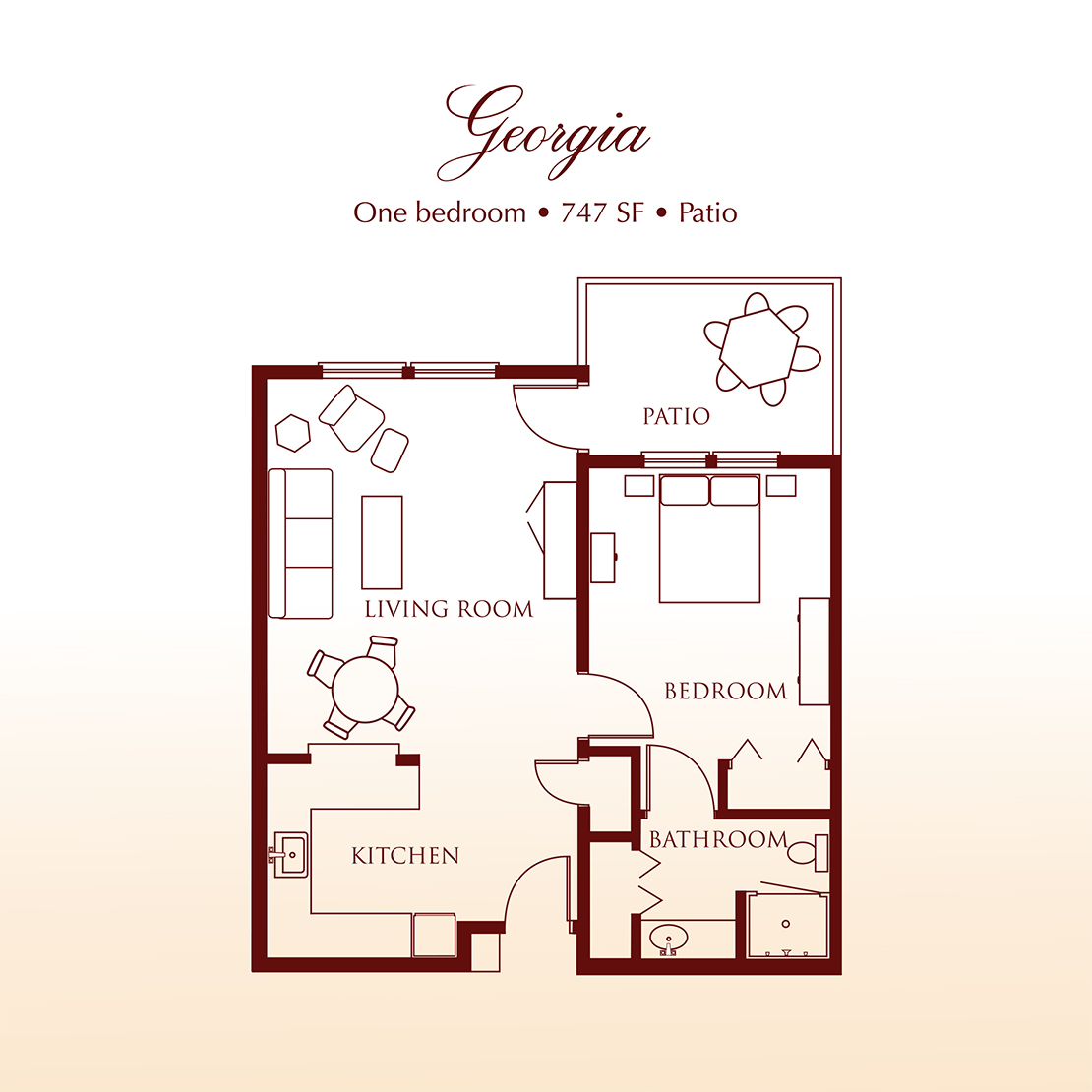 Floor plan - The Georgia One Bedroom Suite at Detray's Colonial Inn