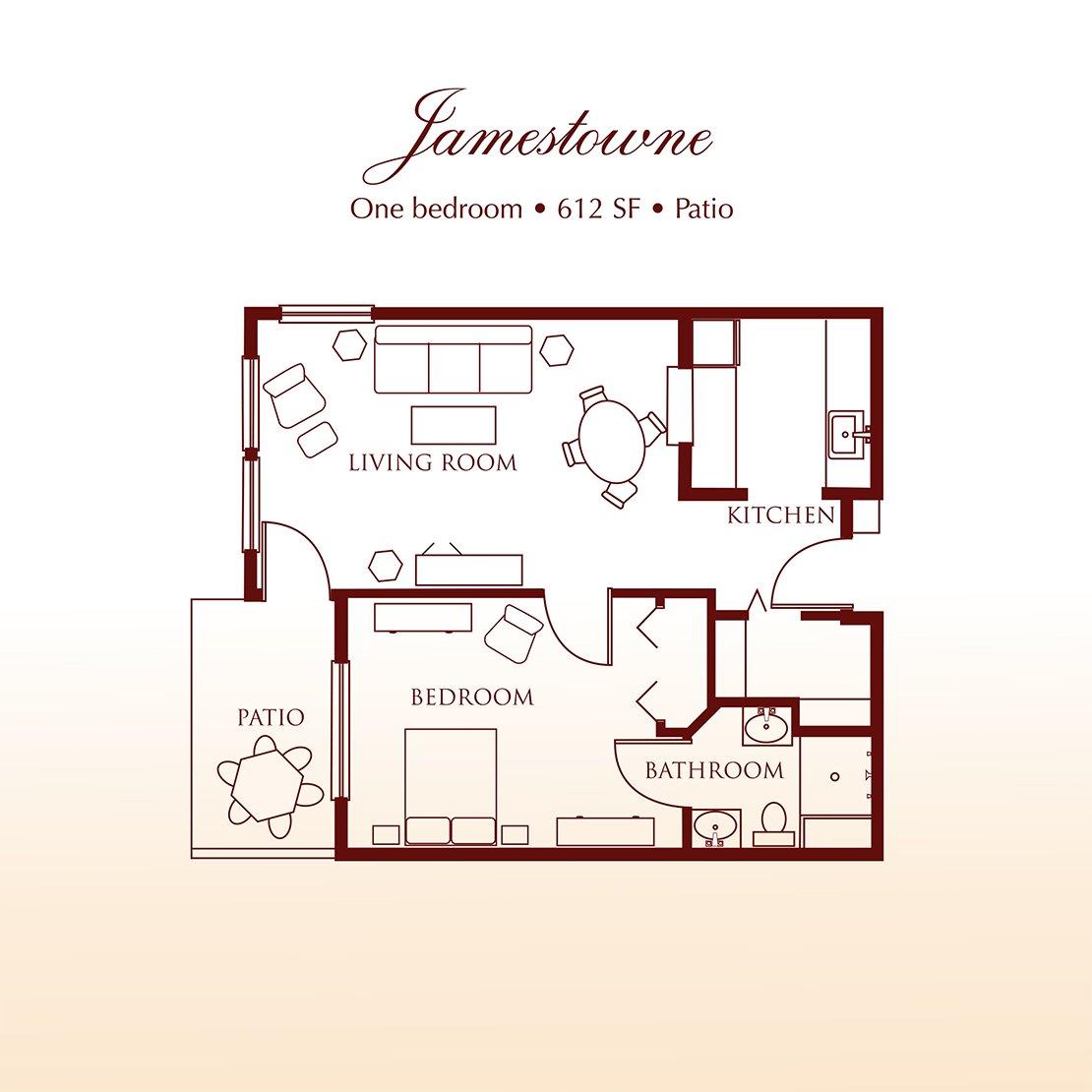 Floor plan - The Jamestowne One Bedroom Suite at Detray's Colonial Inn