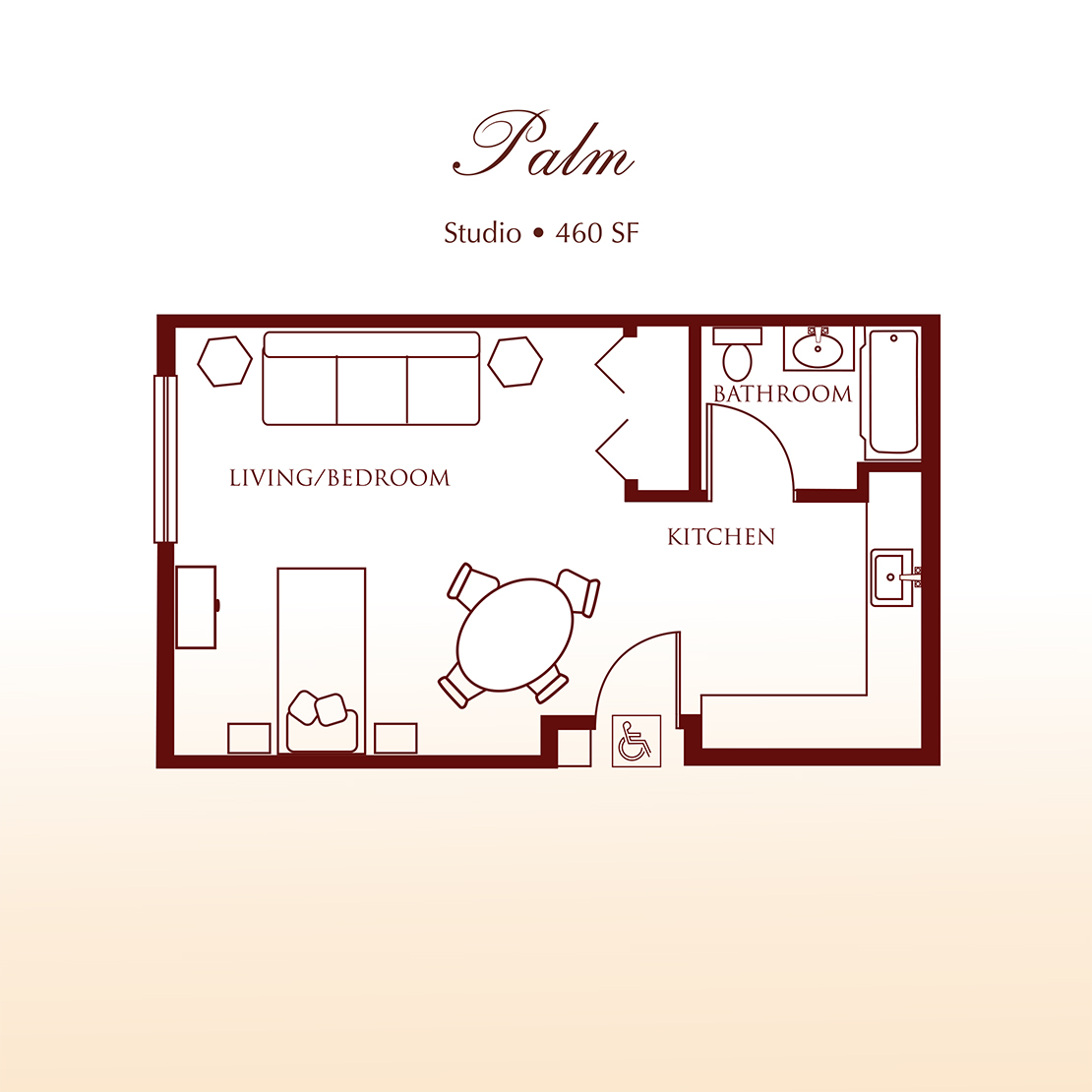 Floor plan - The Palm Studio Apartment at Detray's Colonial Inn