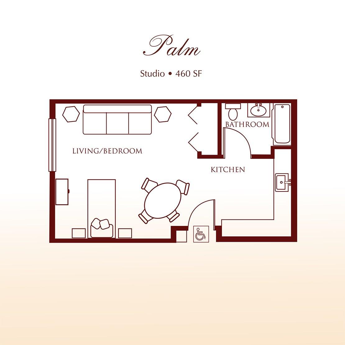 Floor plan - The Palm Studio Apartment at Detray's Colonial Inn
